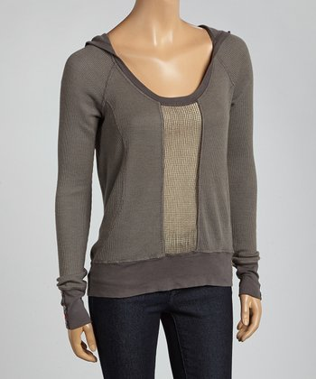 Charcoal Hooded Scoop Neck Pullover