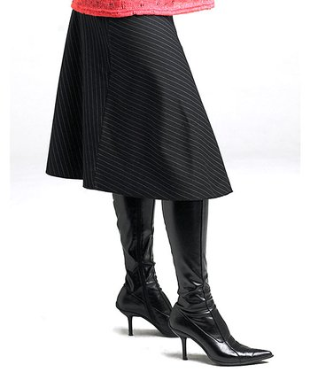 Black Pinstripe Maternity Skirt