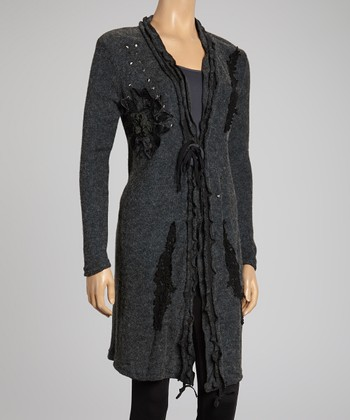 Black Embroidered Linen-Blend Duster