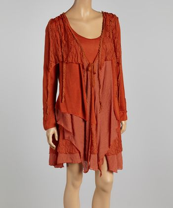 Rust Lace Linen-Blend Layered Dress - Plus