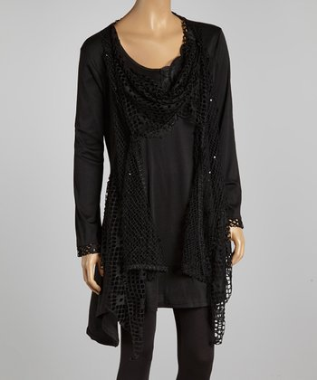 Black Crochet Layered Tunic Dress - Plus