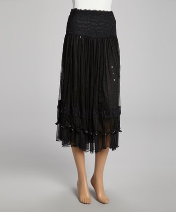 Black Sequin Lace Silk-Blend Skirt