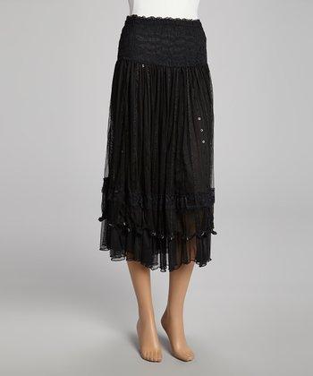 Black Sequin Lace Silk-Blend Skirt