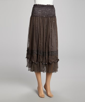Gray Sequin Lace Silk-Blend Skirt