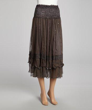 Gray Sequin Lace Silk-Blend Skirt