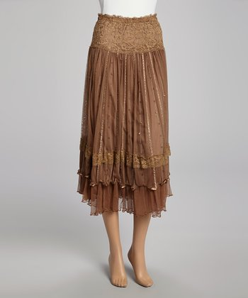 Brown Sequin Lace Silk-Blend Skirt