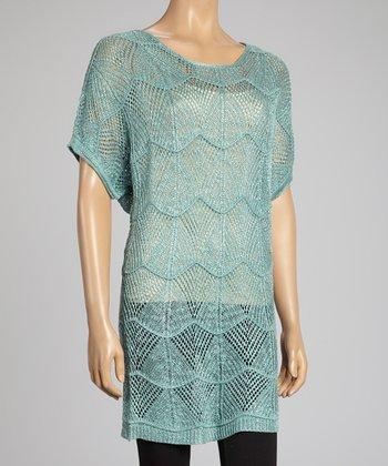 Aqua Linen-Blend Sweater Tunic