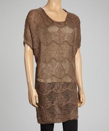 Brown Linen-Blend Sweater Tunic
