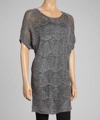 Gray Linen-Blend Sweater Tunic