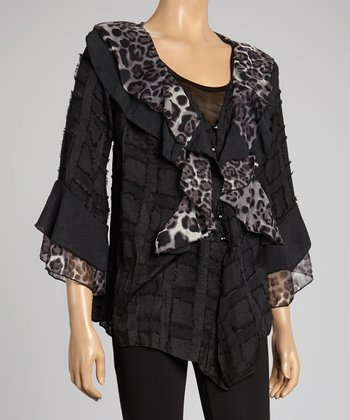Black Leopard Ruffle Silk-Blend Cardigan