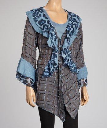 Blue Leopard Ruffle Silk-Blend Cardigan