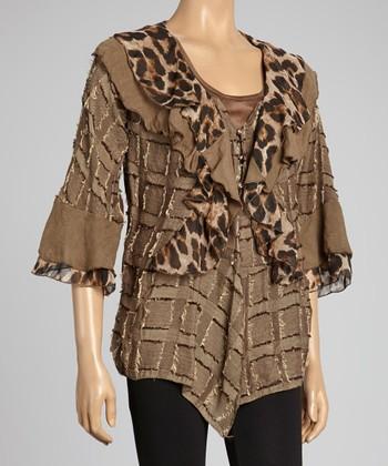 Brown Leopard Ruffle Silk-Blend Cardigan