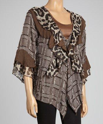 Ecru Leopard Ruffle Silk-Blend Cardigan
