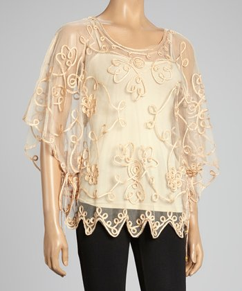 Brown Embroidered Silk-Blend Cape-Sleeve Top