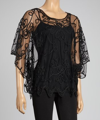 Black Embroidered Silk-Blend Cape-Sleeve Top