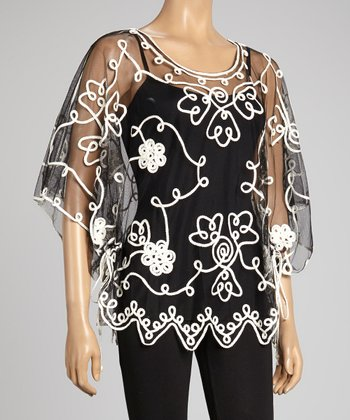 Black & White Embroidered Silk-Blend Cape-Sleeve Top