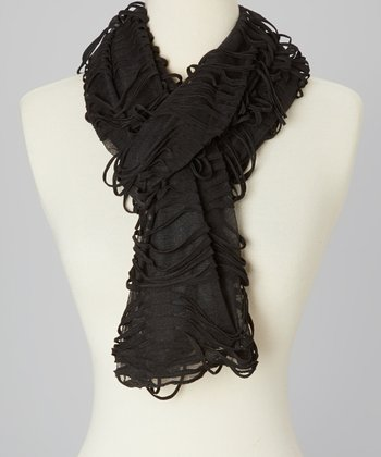 Black Ombrè Distressed Linen-Blend Scarf