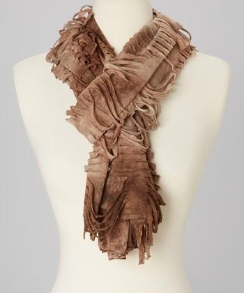 Ecru & Brown Ombré Distressed Linen-Blend Scarf