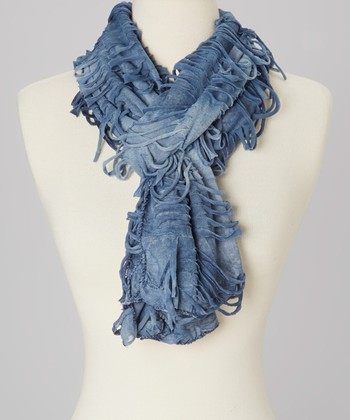 Blue & Dark Blue Ombrè Distressed Linen-Blend Scarf