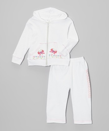 Pink & White Butterfly Zip-Up Hoodie & Pants