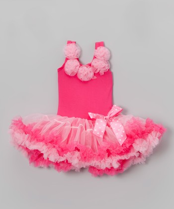 Hot Pink Bow Flower Dress - Infant, Toddler & Girls