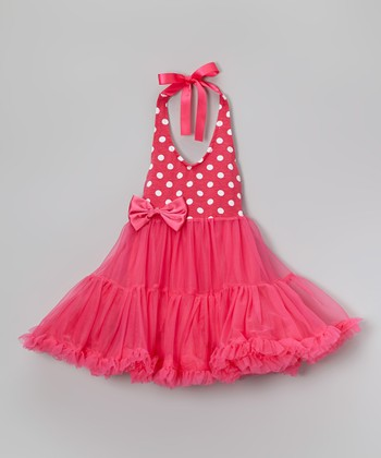 Hot Pink Polka Dot Chiffon Dress - Infant, Toddler & Girls