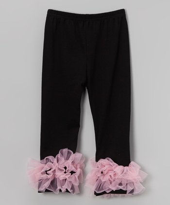 Black & Pink Ruffle Leggings - Infant, Toddler & Girls