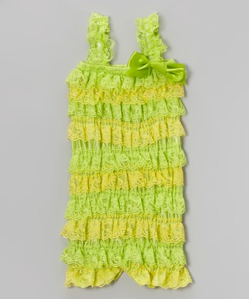 Lime & Yellow Ruffle Lace Romper - Infant, Toddler & Girls