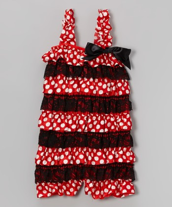 Red Polka Dot Ruffle Satin Romper - Infant, Toddler & Girls