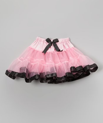 Pink & Black Polka Dot Pettiskirt - Infant, Toddler & Girls