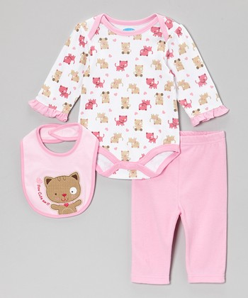 Pink Kitty Bodysuit Set
