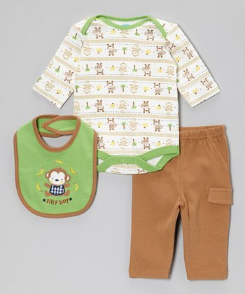 Green & Brown Monkey 'Silly Boy' Bodysuit Set