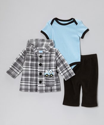 Blue & Gray Plaid Puppy Truck Fleece Hoodie Set