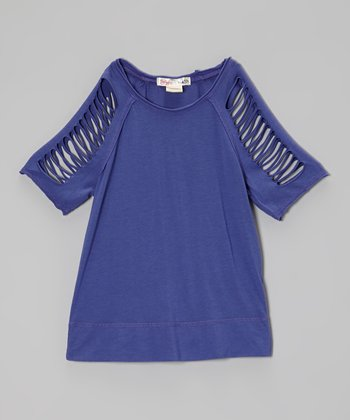 Yale Blue Cutout Raglan Top - Girls