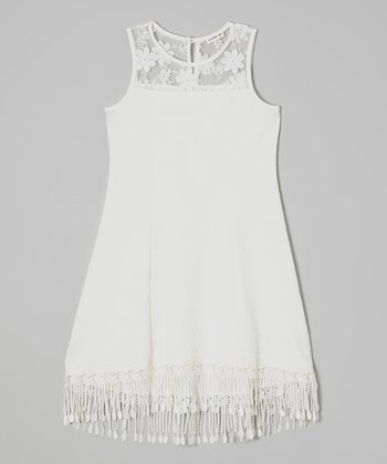 White Lace Fringe Shift Dress