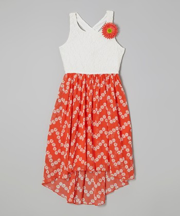 White & Coral Lace Rosette Dress