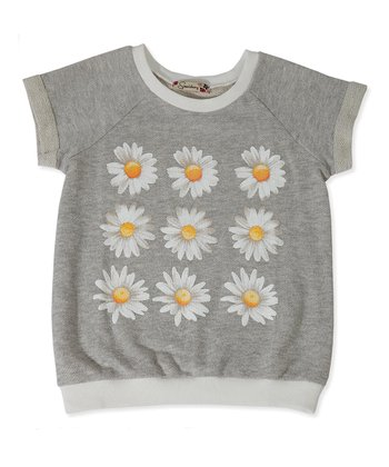Gray Daisy Short Sleeve Sweatshirt