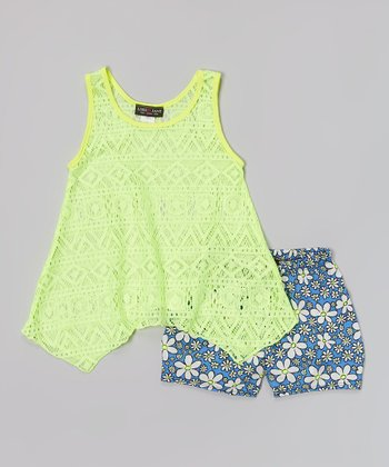 Yellow Lace Tank & Blue Floral Shorts