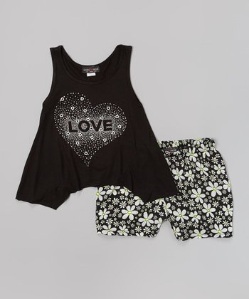 Black 'Love' Tank & Floral Shorts