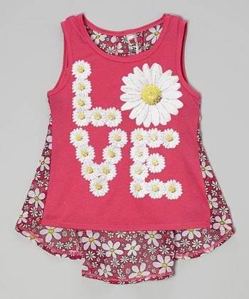 Hot Pink Sparkle 'Love' Daisy Layered Tank