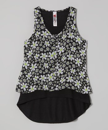 Black Daisy Layered Tank