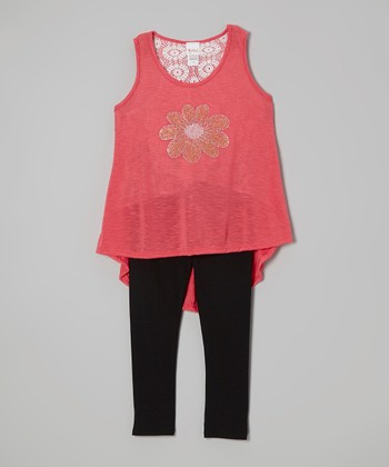 Coral Daisy Tunic & Black Leggings