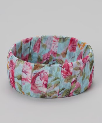 Blue Floral Chiffon Bangle