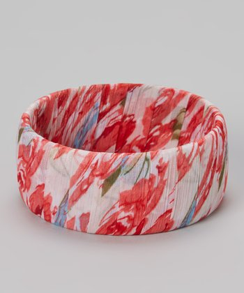 White & Pink Floral Chiffon Bangle