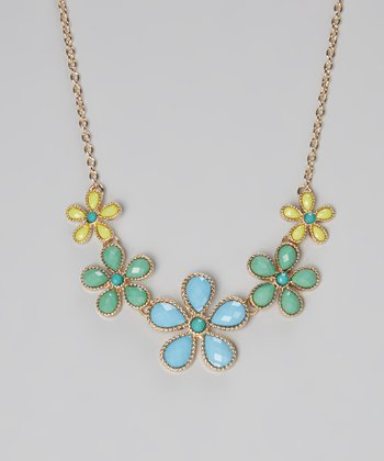 Blue Flower Bib Necklace