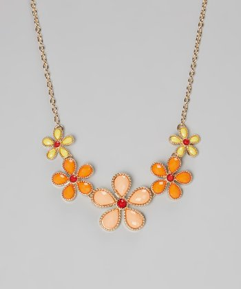 Peach Flower Bib Necklace
