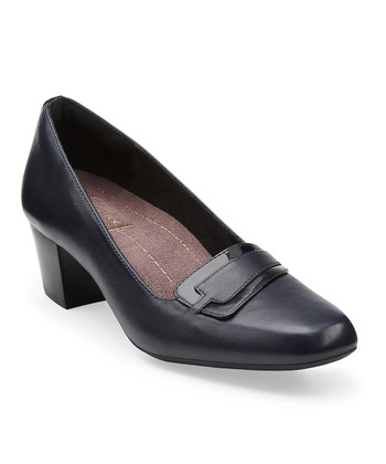 Navy Levee Delta Leather Pump