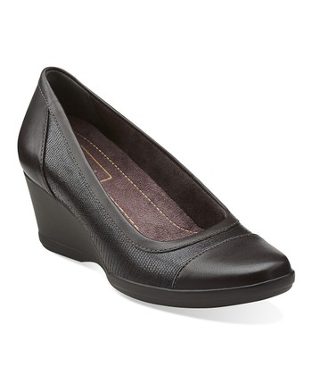 Dark Brown Neala Moon Leather Wedge