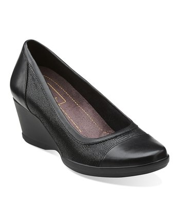 Black Neala Moon Leather Wedge