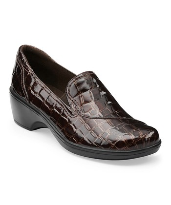Brown Crocodile-Embossed May Poppy Loafer
